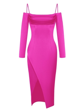 Pink cold shoulder satin dress