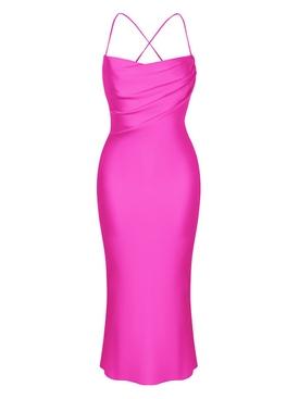 Pink midi slip satin dress