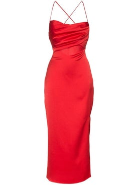 Rasario - Red Satin Miidi Dress - Women