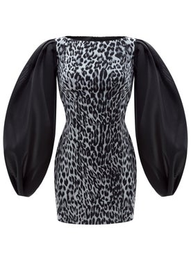 Rasario - Puff Sleeve Organza And Leopard Print Chiffon Mini Dress - Women