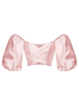 Puff Sleeve Wrap Effect Top Blush