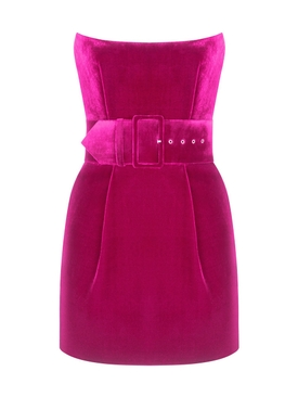 Silk Velvet Corset Mini Dress Magenta
