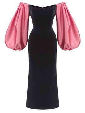 Rasario - Puff Sleeve Satin And Silk Velvet Corset Midi Dress Black And Pink - Women