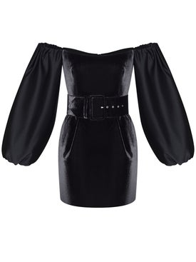 Rasario - Puff Sleeve Satin And Silk Velvet Corset Mini Dress Black - Women