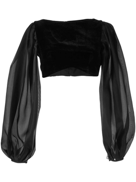 puff sleeve velvet cropped top