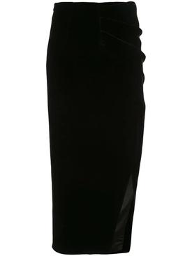 draped velvet skirt black