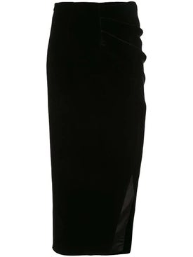 Rasario - Draped Velvet Skirt Black - Women