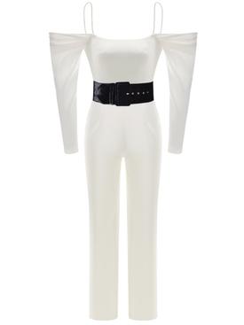 Cold Shoulder Satin Corset Jumpsuit White