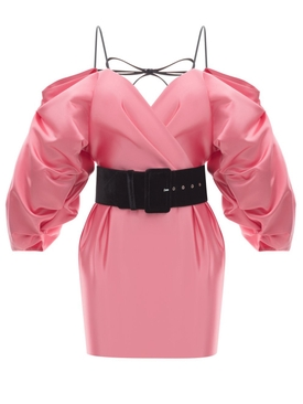 Cold Shoulder Satin Mini Dress Pink