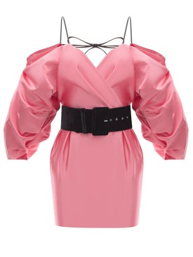 Rasario - Cold Shoulder Satin Mini Dress Pink - Women