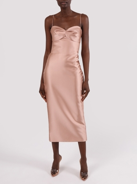 Beige satin midi dress