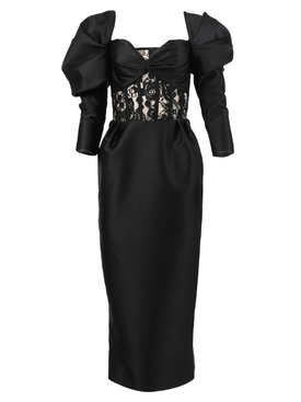 Black off-shoulder lace and satin dress