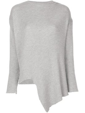 Marques'almeida - Lurex Crewneck Asymmetric Jumper Grey - Women