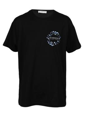 Blue floral logo t-shirt