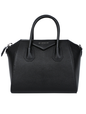 SMALL PEBBLED LEATHER ANTIGONA BAG BLACK