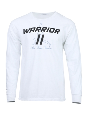 White yoga warrior logo t-shirt
