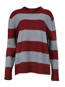 Block Stripe Knitwear Brick Red Grey