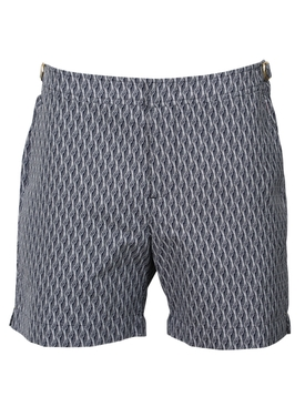 vintage pattern bulldog swim shorts