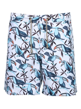 Multicolored toucan print swim trunks