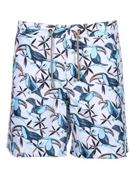 Multicolored toucan print swim trunks