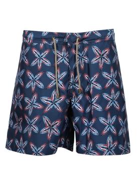 Navy titan print swim trunks