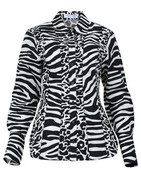 Proenza Schouler White Label - Black And White Zebra Print Shirt - Women