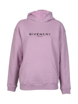 Distressed logo print hoodie PINK