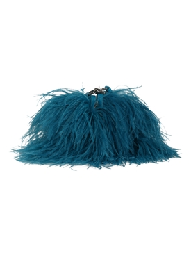 Marques'almeida - Ostrich Feather Shoulder Bag Turquoise - Women