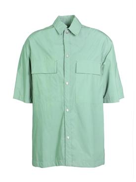 Oversized Nylon Shirt Army Iridescent