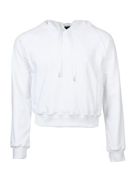 Velvet Cropped Hoodie, White