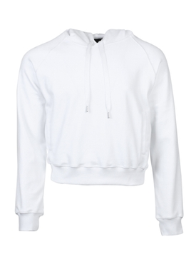 Haider Ackermann - Velvet Cropped Hoodie, White - Men