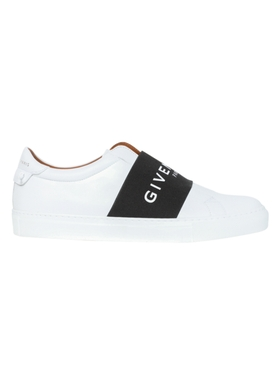 Black and white logo strap sneakers