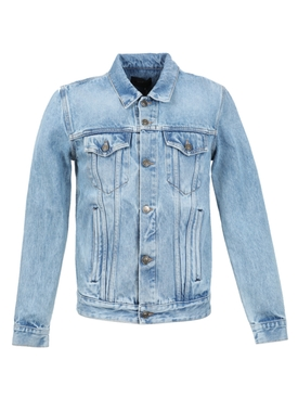 Cashmere patch denim jacket