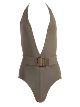 Olive green halter one-piece