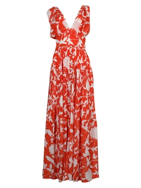 Oscar De La Renta - Orange Floral Maxi Dress - Women