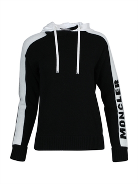 Black and White Hooded Jumper