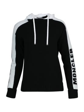 Moncler - Black And White Hooded Jumper - Women