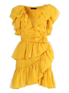 Dundas - Yellow Ruffled Wrap Dress - Women