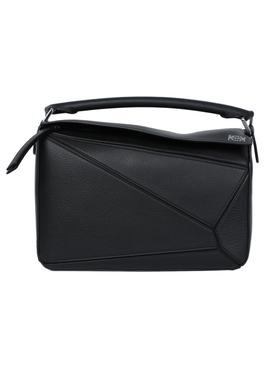 Pebbled leather puzzle bag BLACK