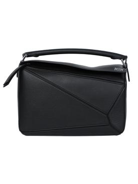 Pebbled leather puzzle bag BLACK