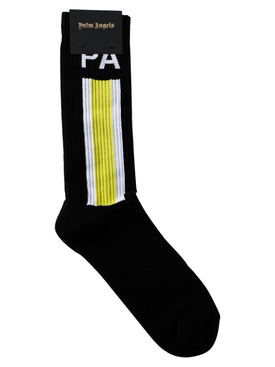 Ribbed side stripe logo socks BLACK/YELLOW