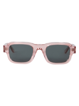 Clear Pink Rectangular Sunglasses