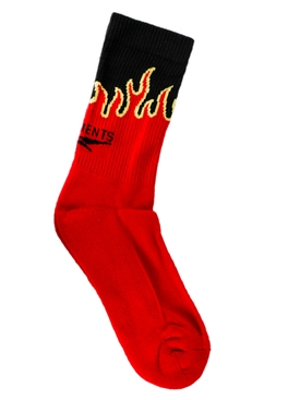 Black and red logo flame socks