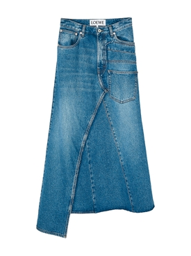 Asymmetric Midi Denim Skirt