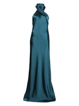 Galvan - Satin Halter Evening Dress - Women