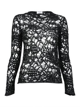 Saint Laurent - Sequined Web-effect Knit Sweater - Women