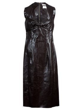 Bottega Veneta - Brown Leather Sheath Dress - Women