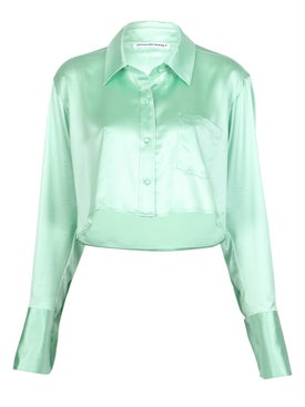 Alexanderwang.t - Cropped Long-sleeved Top Mint - Women