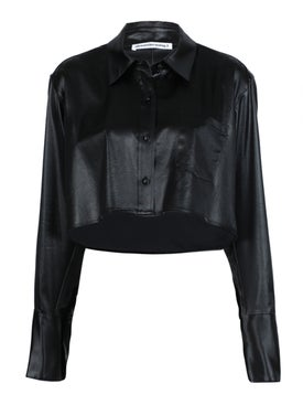 Alexanderwang.t - Cropped Long-sleeved Top Black - Women