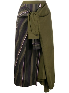 Forest green asymmetric skirt
